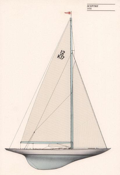 Americas Cup - Sceptre (1958) - Royal Yacht Squadron. JOHN GARDNER 1971 print
