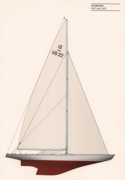 Americas Cup - Intrepid (1967 & 1970) - New York Yacht Club. JOHN GARDNER 1971