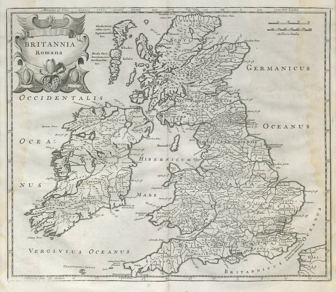 Associate Product Roman Britain. 'BRITANNIA ROMANA' by ROBERT MORDEN. Camden's Britannia 1722 map