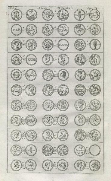 Associate Product British Coins. 'NUMMI BRITANNICI' (I)  from Camden's Britannia 1722 old print