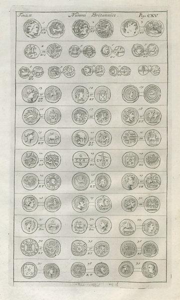 Associate Product British Coins. 'NUMMI BRITANNICI' (II)  from Camden's Britannia 1722 old print