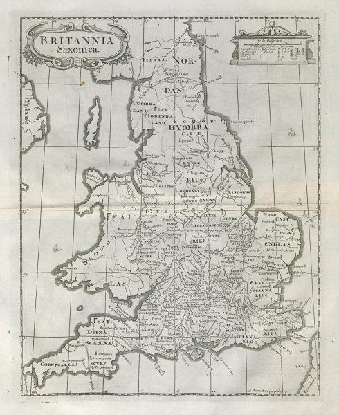 Associate Product Saxon Britain.'BRITANNIA SAXONICA' by ROBERT MORDEN.Camden's Britannia 1722 map