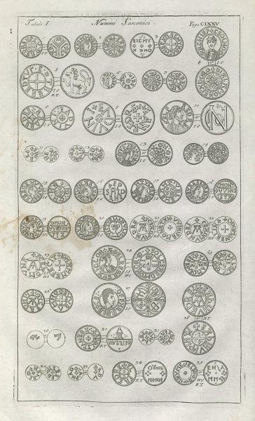 Associate Product Saxon British Coins. 'NUMMI SAXONICI' (I)  from Camden's Britannia 1722 print