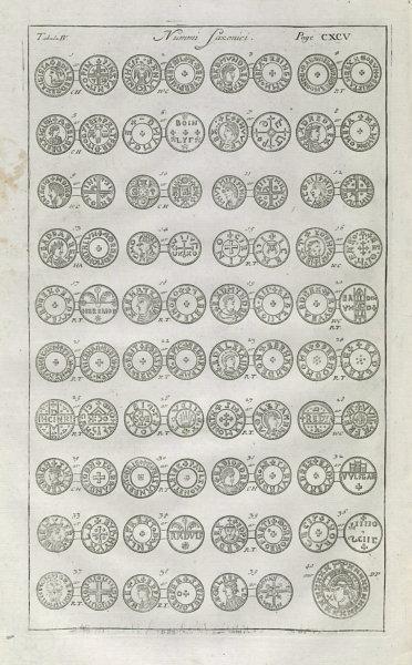 Associate Product Saxon British Coins. 'NUMMI SAXONICI' (IV)  from Camden's Britannia 1722 print