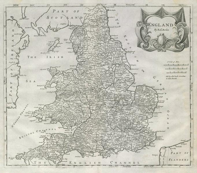 ENGLAND by ROBERT MORDEN from Camden's Britannia 1722 old antique map chart