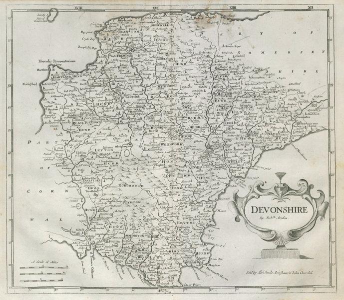 Associate Product Devon. 'DEVONSHIRE' by ROBERT MORDEN from Camden's Britannia 1722 old map