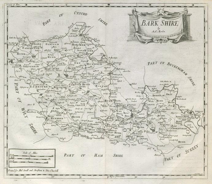 Associate Product Berkshire. 'BARK SHIRE' by ROBERT MORDEN from Camden's Britannia 1722 old map