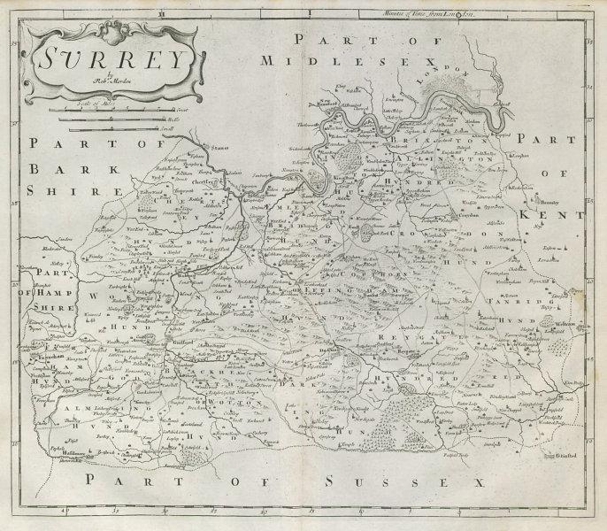 Associate Product SURREY by ROBERT MORDEN from Camden's Britannia 1722 old antique map chart
