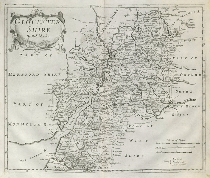 Associate Product GLOUCESTERSHIRE by ROBERT MORDEN from Camden's Britannia 1722 old antique map
