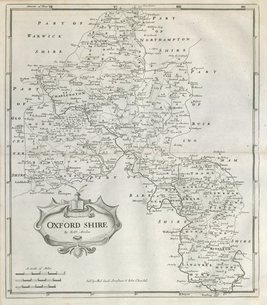 Associate Product Oxfordshire. 'OXFORD SHIRE' by ROBERT MORDEN from Camden's Britannia 1722 map