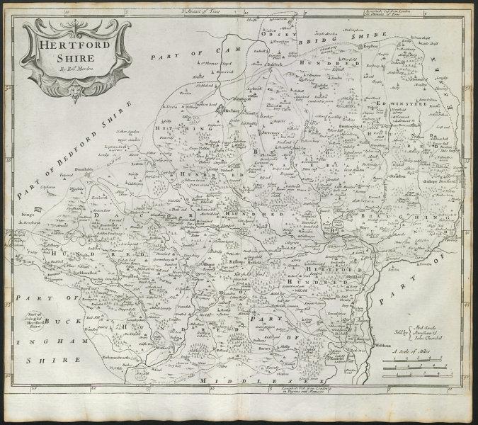 Associate Product Hertfordshire. 'HERTFORD SHIRE' by ROBERT MORDEN in Camden's Britannia 1722 map