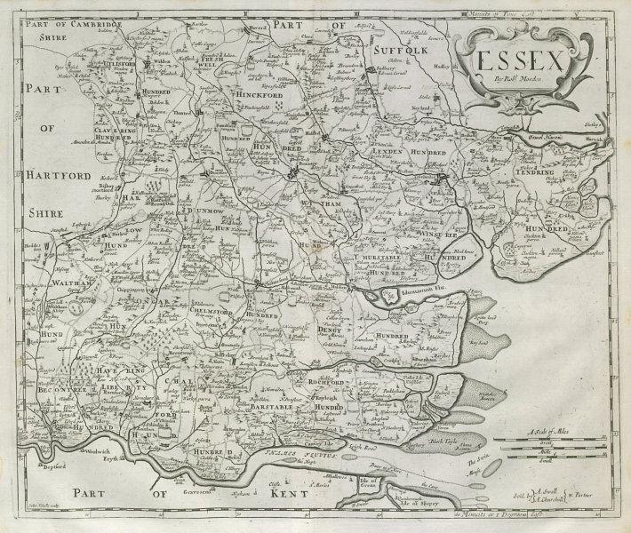 Associate Product Essex by ROBERT MORDEN from Camden's Britannia 1722 old antique map plan chart