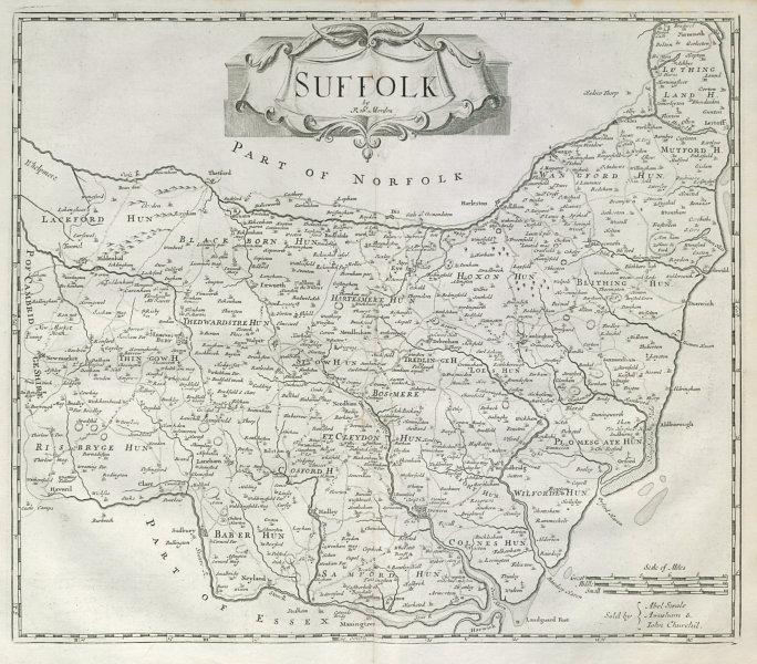 Associate Product Suffolk by ROBERT MORDEN from Camden's Britannia 1722 old antique map chart