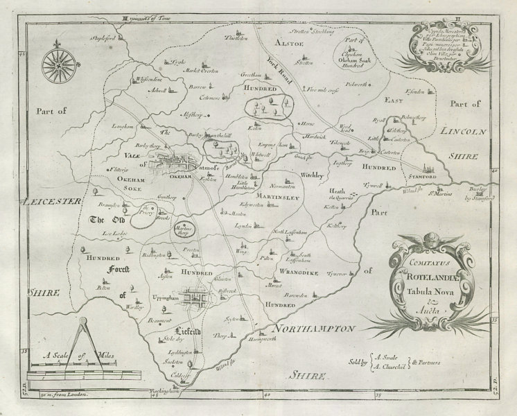 Associate Product Rutland. 'COMITATUS ROTELANDIAE' by ROBERT MORDEN. Uppingham & Oakham 1722 map