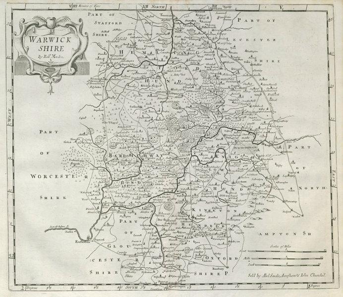 Associate Product Warwickshire. 'WARWICK SHIRE' by ROBERT MORDEN from Camden's Britannia 1722 map