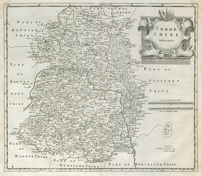 Associate Product Shropshire. 'SHROP SHIRE' by ROBERT MORDEN from Camden's Britannia 1722 map