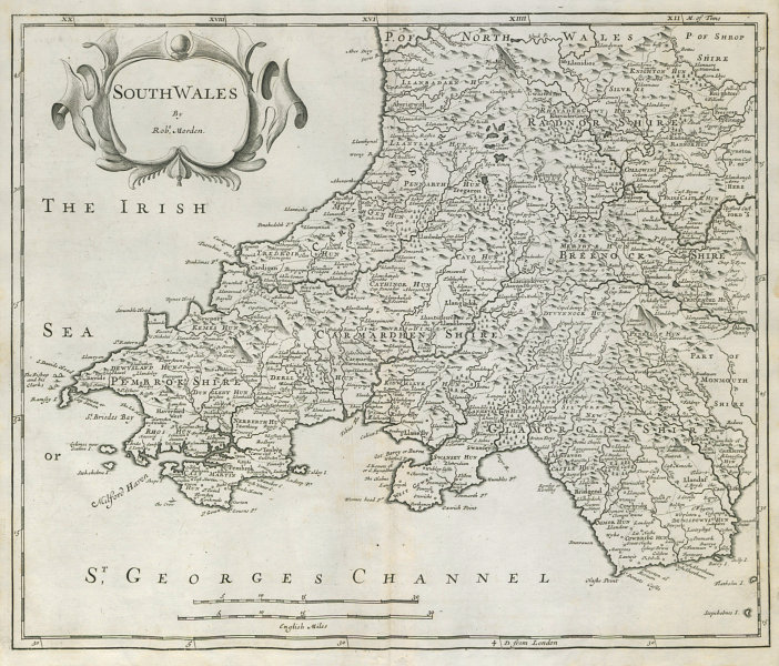 Associate Product SOUTH WALES by ROBERT MORDEN from Camden's Britannia 1722 old antique map