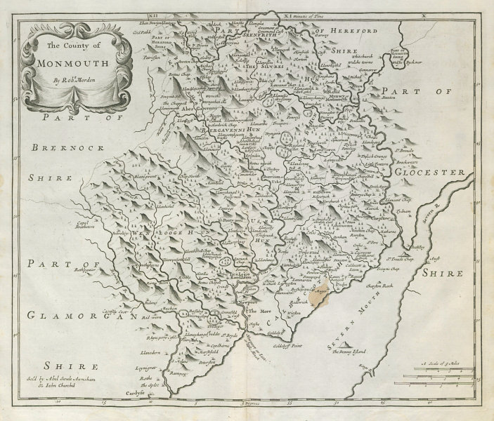 Associate Product COUNTY OF MONMOUTH. Monmouthshire by ROBERT MORDEN.Camden's Britannia 1722 map