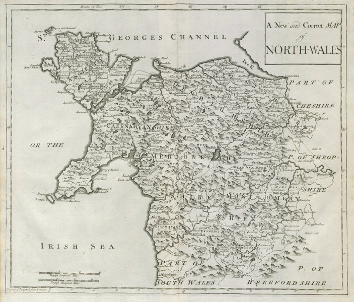 Associate Product NORTH WALES by ROBERT MORDEN from Camden's Britannia 1722 old antique map
