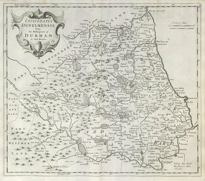 Associate Product Bishopric of Durham. 'EPISCOPAIUS DUNELMENSIS' by ROBERT MORDEN 1722 old map
