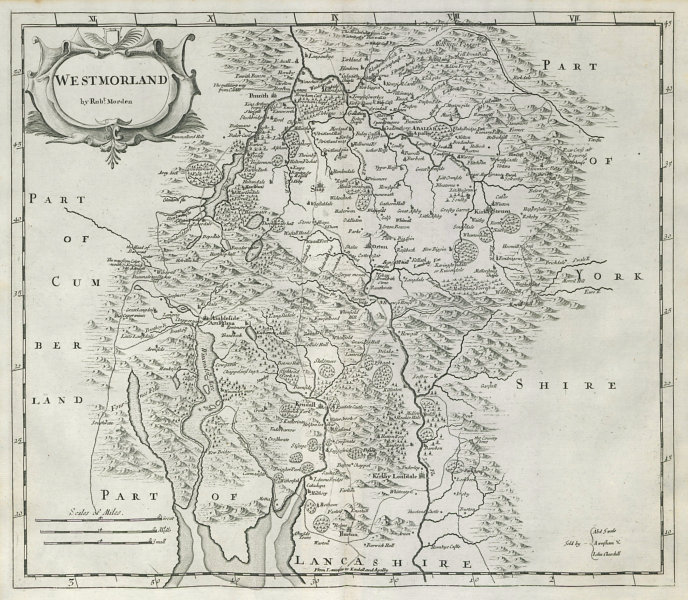 Associate Product Westmoreland. 'WESTMORLAND' by ROBERT MORDEN from Camden's Britannia 1722 map