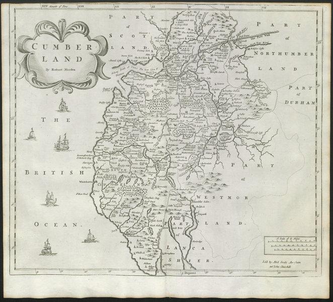 Associate Product Cumbria. 'CUMBERLAND' by ROBERT MORDEN from Camden's Britannia 1722 old map