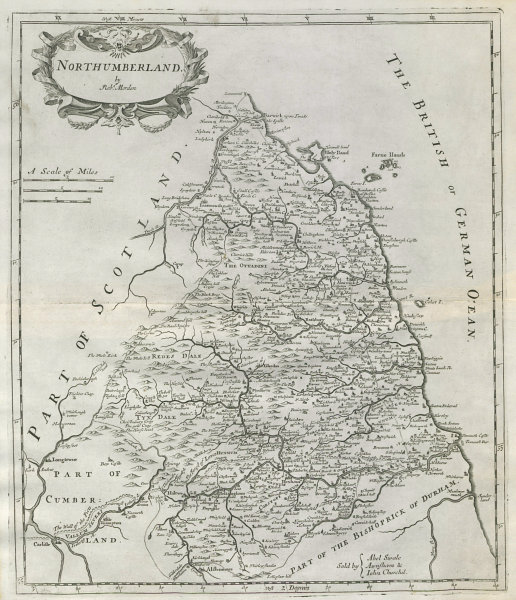 Associate Product NORTHUMBERLAND by ROBERT MORDEN from Camden's Britannia 1722 old antique map