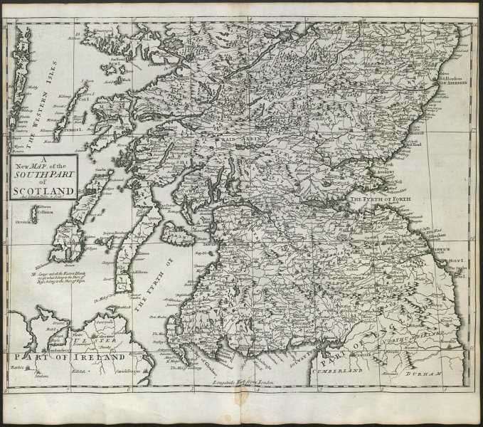 Associate Product SOUTHERN SCOTLAND by ANDREW JOHNSTON from Camden's Britannia 1722 old map