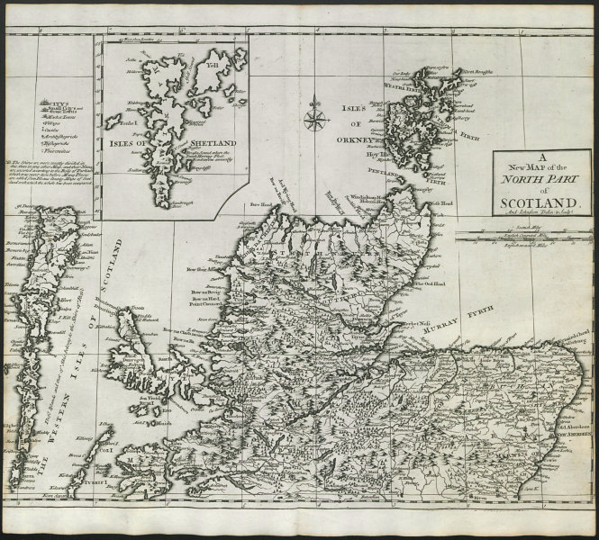 Associate Product NORTHERN SCOTLAND by ANDREW JOHNSTON from Camden's Britannia 1722 old map