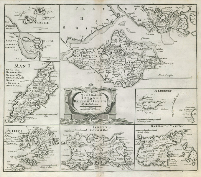 Associate Product ENGLAND. Isles of Wight/Man Scilly Isles Farne/Channel Islands. MORDEN 1722 map
