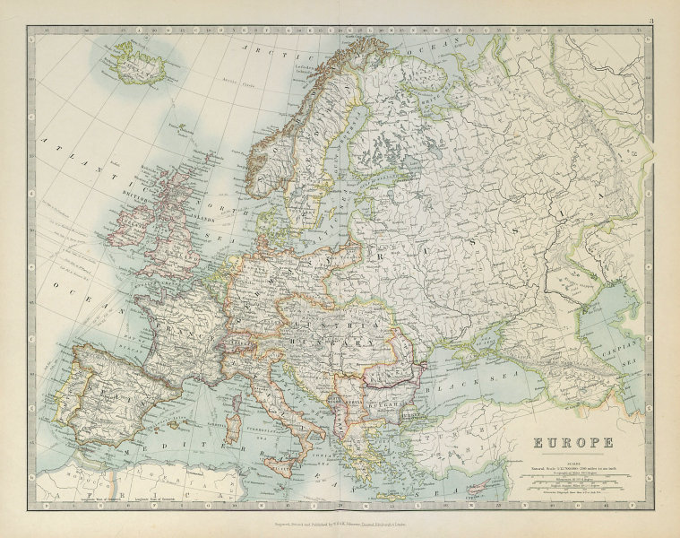 Associate Product EUROPE shown before the First World War. JOHNSTON 1915 old antique map chart