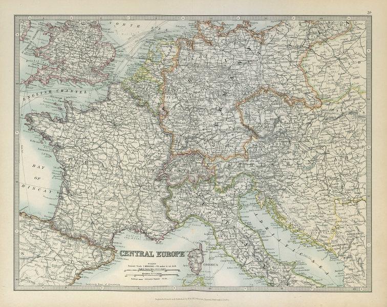 Associate Product CENTRAL EUROPE. France w/o Alsace Lorraine. Austria-Hungary . JOHNSTON 1915 map