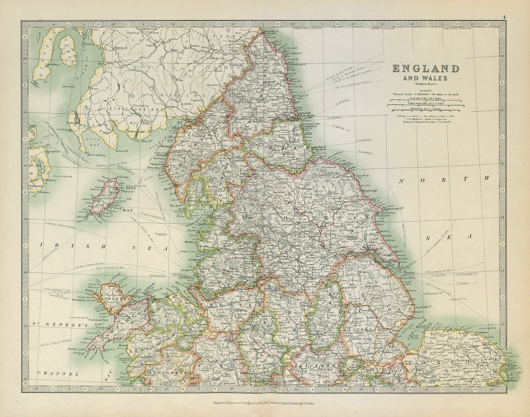 Associate Product NORTHERN ENGLAND & WALES Yorkshire Ridings Lincolnshire Parts. JOHNSTON 1915 map