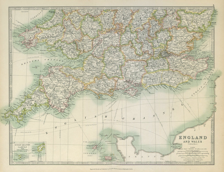 Associate Product SOUTHERN ENGLAND & WALES. Shows Worcestershire enclaves. JOHNSTON 1915 old map