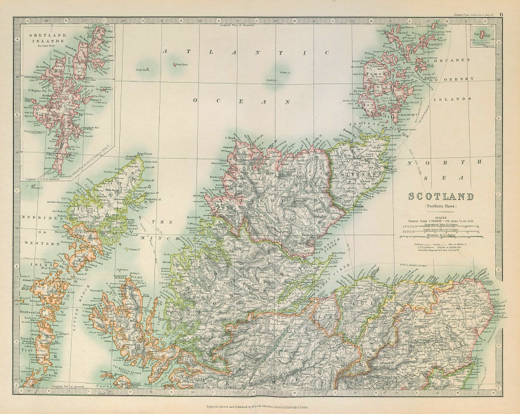 Associate Product NORTHERN SCOTLAND showing battlefields and dates. JOHNSTON 1915 old map