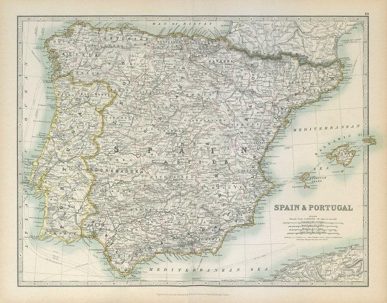 Associate Product SPAIN & PORTUGAL showing Napoleonic battlefields & dates. JOHNSTON 1915 map