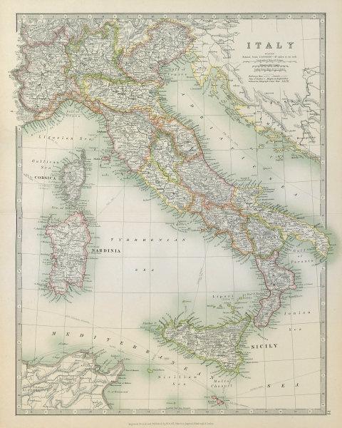 Associate Product ITALY. Railways. Key battlefields & dates. JOHNSTON 1915 old antique map chart