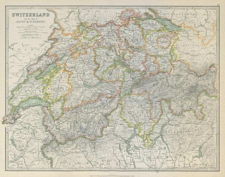 Associate Product SWITZERLAND, SAVOIE & PIEDMONT ALPS. Key battlefields & dates. JOHNSTON 1915 map