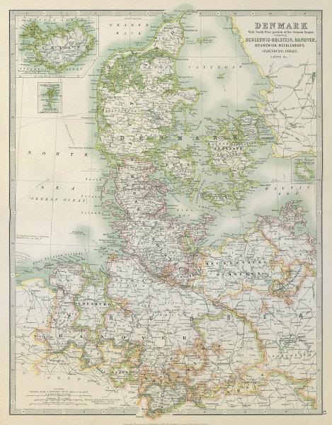 Associate Product DENMARK & NORTHERN GERMANY. Schleswig-Holstein Hanover. JOHNSTON 1915 old map