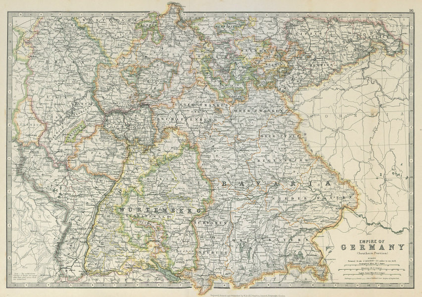 Associate Product GERMAN EMPIRE SOUTH showing important battlefield & dates. JOHNSTON 1915 map