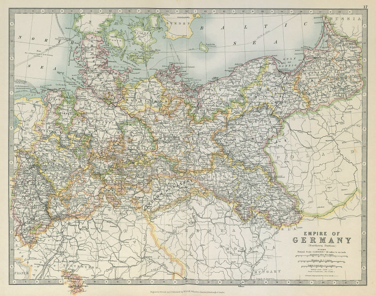 Associate Product GERMAN EMPIRE NORTH showing important battlefield & dates. JOHNSTON 1915 map