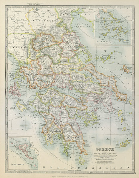 Associate Product GREECE. Inset Corfu Paxo Cyclades. Railways. JOHNSTON 1915 old antique map