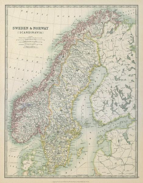 Associate Product SCANDINAVIA. Sweden & Norway. Gulf of Bothnia. JOHNSTON 1915 old antique map