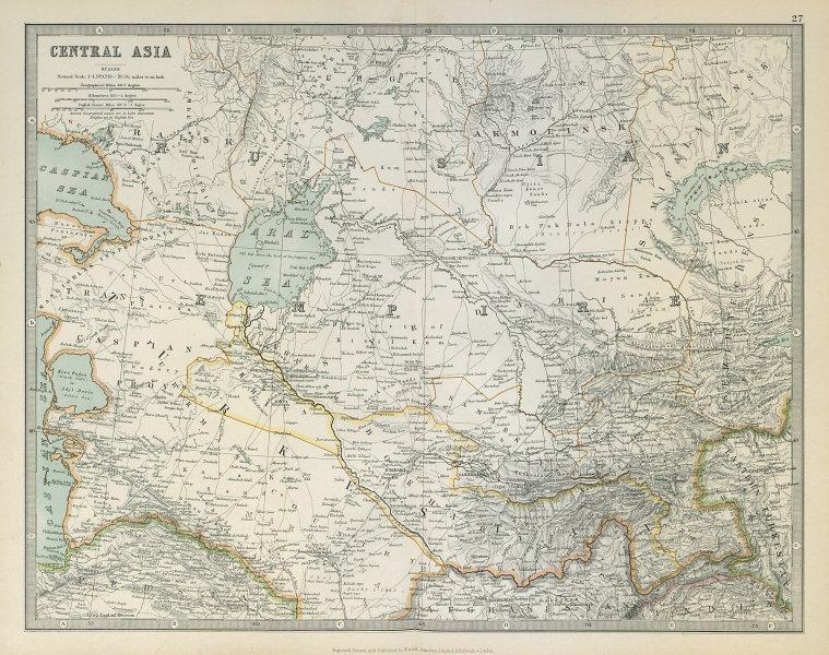 Associate Product CENTRAL ASIA. Aral Sea Turkestan Khiva Bukhara Samarkand. JOHNSTON 1915 map