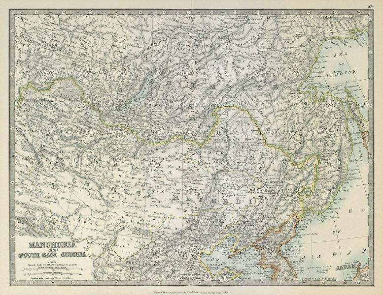 Associate Product MANCHURIA & SOUTH EAST SIBERIA Mongolia China Russia East Asia JOHNSTON 1915 map