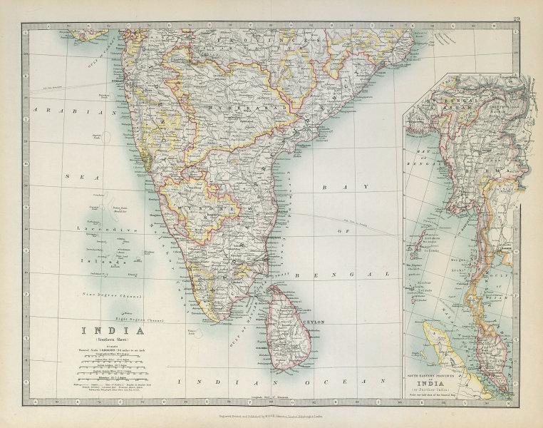Associate Product SOUTH BRITISH INDIA & BURMA with battlefields & dates. Ceylon. JOHNSTON 1915 map