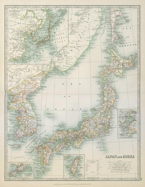 Associate Product JAPAN & KOREA including southern Sakhalin Island. Taiwan. JOHNSTON 1915 map