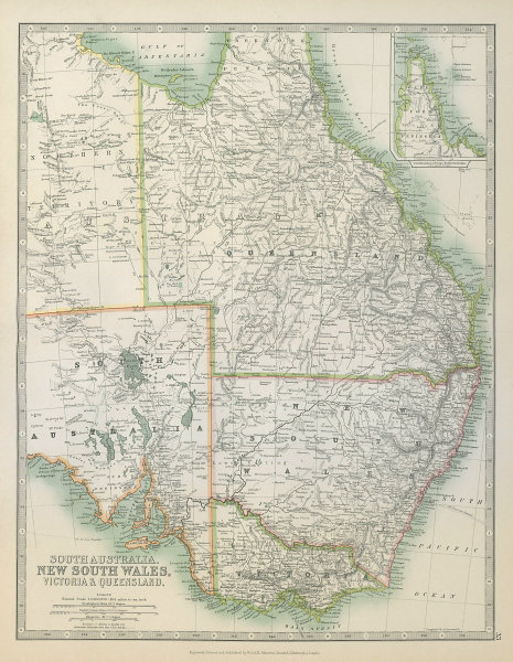 Associate Product EASTERN AUSTRALIA. Queensland, New South Wales & Victoria. JOHNSTON 1915 map