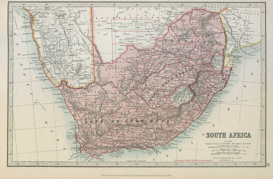 Associate Product SOUTH AFRICA. Cape of Good Hope Transvaal Orange Free State. JOHNSTON 1915 map