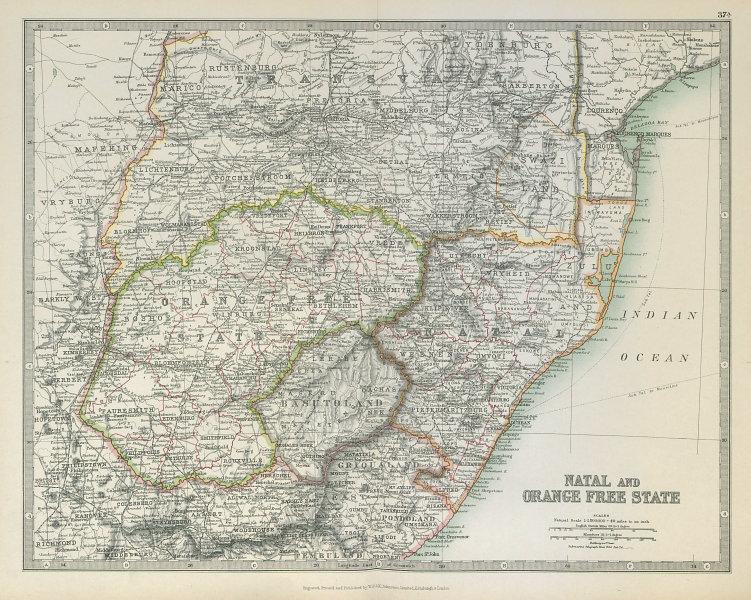 Associate Product NATAL & ORANGE FREE STATE. South Africa. Transvaal. Railways. JOHNSTON 1915 map